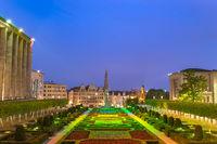 Brussels night city skyline at Mont des Arts Garden, Brussels, Belgium