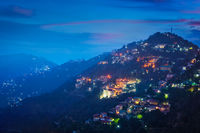 Night view of Shimla town, Himachal Pradesh, India