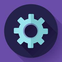Cogwheel Icon. Develop symbol. Flat design style