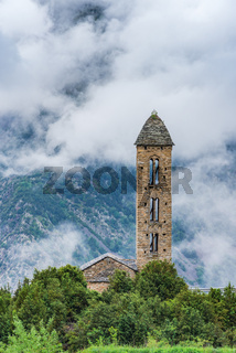 Clouds over Sant Miquel Engolasters church,Andorra