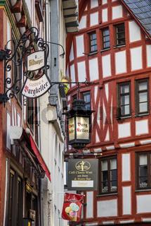 Limburg an der Lahn, Deutschland, Altstadt mit Fachwerkhäusern, hier am Fischmarkt