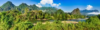 Amazing landscape of river among mountains. Laos panorama.