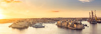 Beautiful panorama of Three Cities and harbour in Malta at sunrise