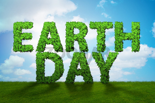 Earth day concept with green letters