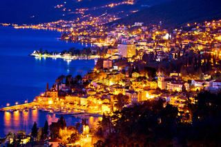 Opatija riviera bay evening view