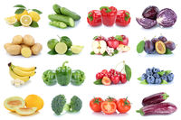 Obst und Gemüse Früchte Apfel Beeren Zitrone Tomaten Farben Collage Freisteller freigestellt isoliert