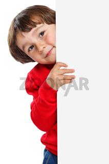 Kind kleiner Junge Werbung Marketing Schild leer Hochformat Textfreiraum Copyspace Freisteller