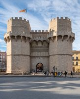 City Gate Towers in ancient city of Valencia Spain