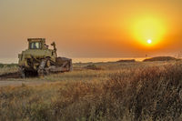 Bulldozer on the beach