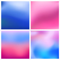 Abstract vector blue pinkblurred background set 4 colors set. Square blurred backgrounds set - sky clouds sea ocean beach colors
