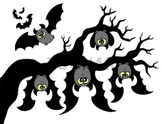 Cartoon bats hanging on branch - isolated illustration.