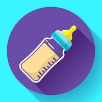 baby milk bottle icon. Baby bottle vector flat icon