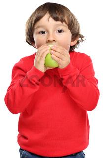 Kind Apfel Obst Früchte essen Herbst gesunde Ernährung isoliert Freisteller freigestellt