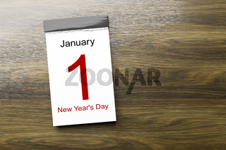 Calendar the 1st of January New Year's Day