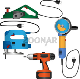 Coloured vector set of power tools with wires
