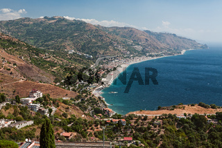 Panoramic view seen from Taormina, Sicily, Italy