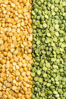 Yellow and green split peas.