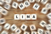Lima Stadt Reise Reisen Würfel Business Konzept