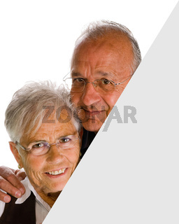 senior  woman   man holding a blank over white background