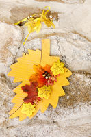 Autumn still life decoration over stone background