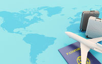 3d Passport, travel suitcases and Airplane on the map.