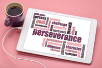 perseverance word cloud on tablet