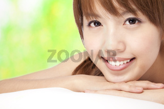 Beautiful asian girl   with green background