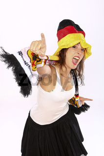 Cheerful Soccer Fan Girl Devoted To National German Team