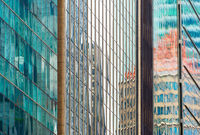 Glass walls modern skyscrapers. background