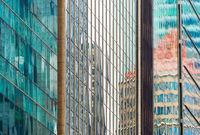 Glass walls modern skyscrapers. background