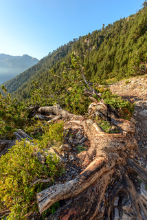 Trekking path in mountains. Greece