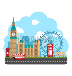 Design Poster for Travel of England. Urban Background