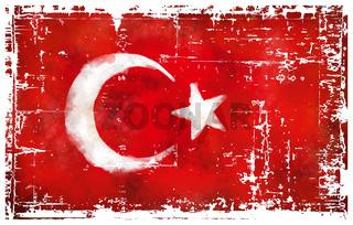 flagge der türkei auf grunge hintergrund - illustration