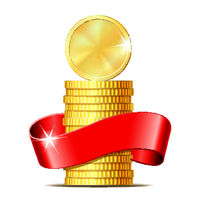 Stack of coins with red ribbon.