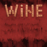 Word wine shaped by corks over grunge red