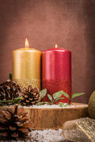 Christmas candles and ornaments