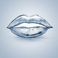splash lips made of blue water