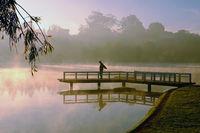 man do exercise,  lake in fog