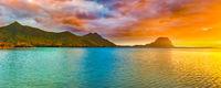Amazing landscape. Le Morne Brabant at sunset. Mauritius. Panorama