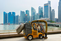Cleaning vehicle in Singapore Downtown