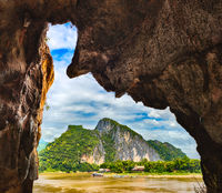View from the cave. Beautiful landscape. Laos.