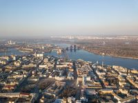 Panoramic view of the city of Kiev with the Dnieper River in the distance