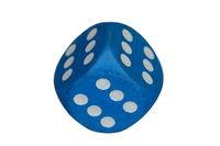 blauer Siegerwürfel mit lauter Sechsen