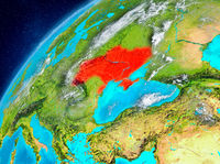 Space view of Ukraine in red