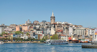 City view of Istanbul, Turkey from the sea overlooking Galata Tower