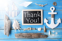 Sunny Nautic Chalkboard And Text Thank You