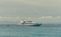 Motor Yacht at Cala Saona in Formentera. Balearic Islands. Spain