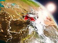 Tajikistan from space during sunrise