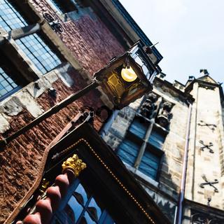 old medieval lantern on street in Aachen city
