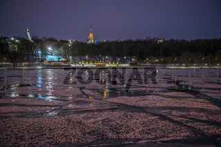 Night view of Moscow river in ice